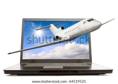 Modern laptop computer with airliner flying out from screen isolated over white