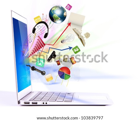 Modern laptop  (Elements of this image furnished by NASA)