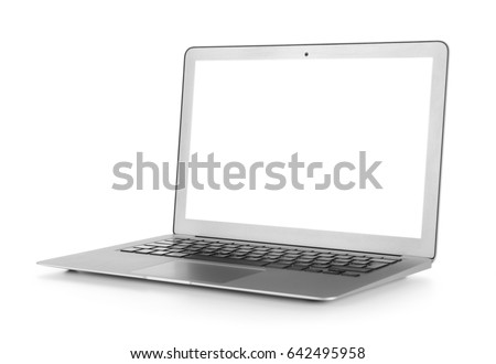 Modern laptop isolated on white #642495958