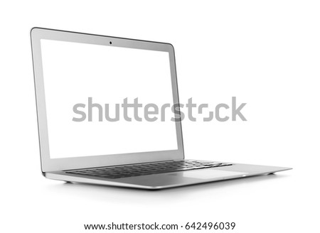 Modern laptop isolated on white #642496039