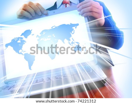 modern laptop isolated on white background. World in monitor