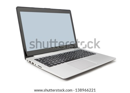 Modern laptop side and open on a white background.