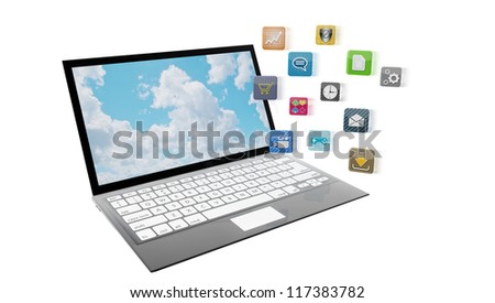 Modern laptop with apps flying towards the screen, isolated on white. Note to reviewer: app icons are designed by the artist.