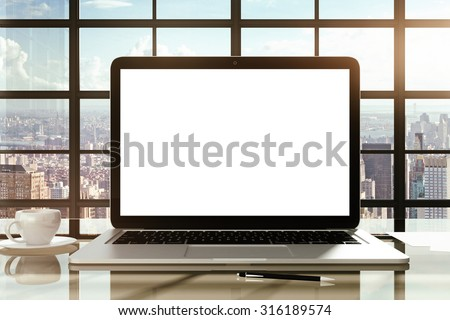 Modern laptop with white screen, mock up