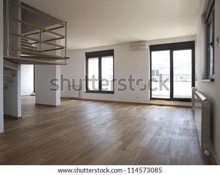 Modern large empty living room