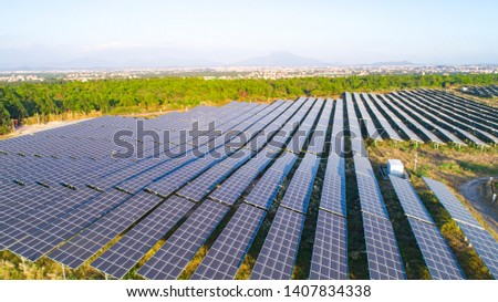 Modern large-scale photovoltaic solar panels.
