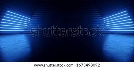 Modern Laser Neon Led Pantone Blue Lights Glowing Line Fluorescent Lights Tunnel Triangle Hall Warehouse Concrete Corridor Empty Studio Showroom Alien 3D Rendering Illustration