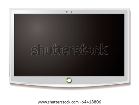 Modern LCD TV hanging on wall with blank screen