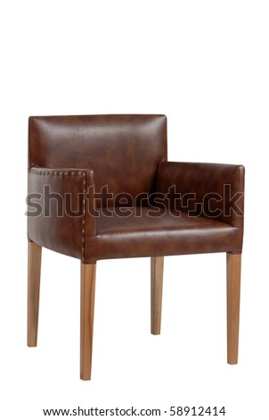 modern leather arm chair - stock photo