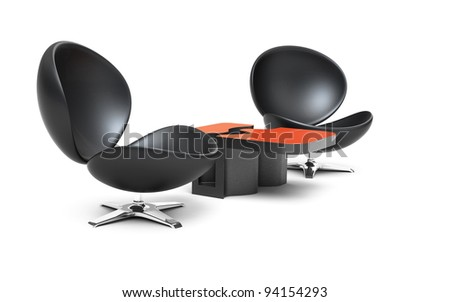 Modern leather armchairs with coffee table isolated 3d model - stock photo