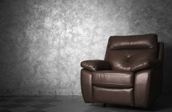 Modern leather chair in the living room, close up