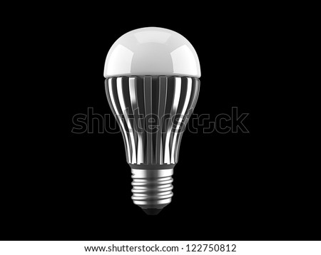 Modern LED light bulb with radiator isolated on white