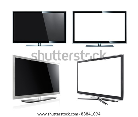 Modern Led tv panel isolated on the white