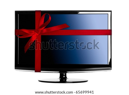 Modern Led tv with a red Christmas ribbon