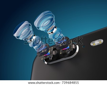 Modern lens of smartphone double camera structure. New features for a smartphone camera concept. 3d illustration