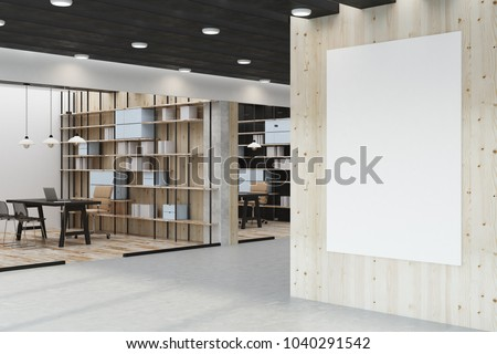 Modern library interior with empty poster on wall and workplace. Mock up, 3D Rendering