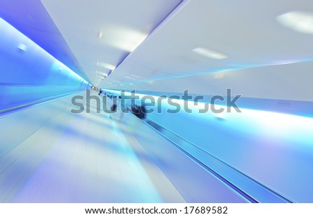 Modern Lifestyle - Fast Moving on Airport Tunnel