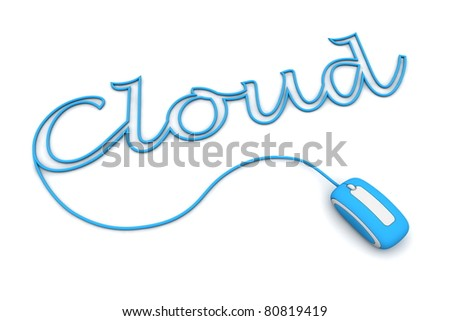 modern light blue computer mouse is connected to the light blue word CLOUD - letters a formed by the mouse cable - stock photo