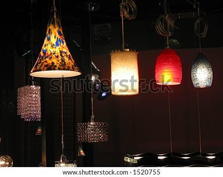 Modern light fixtures on display