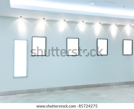 modern light hall with empty placards on the wall