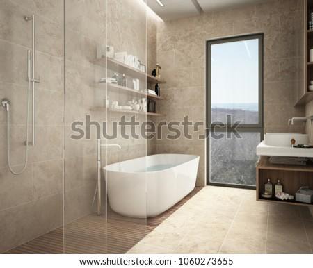 Modern limestone bathroom, bathtub and shower, shelves with bottles, big panoramic window, 3d illustration