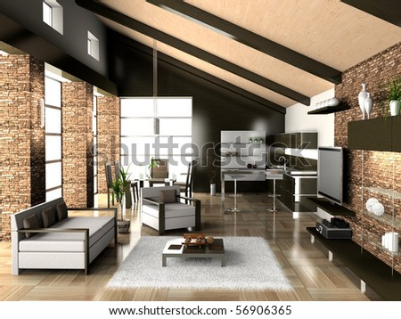 modern living a room with a dining zone 3D