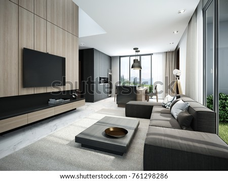 Modern living room and kitchen 3D render