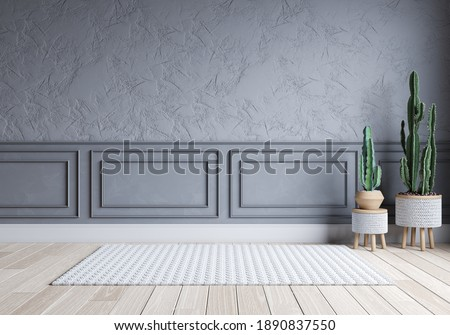 Modern living room and loft interior design. empty room. gray wall with wood floor .Color of the year 2021. 3d render