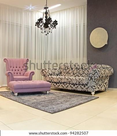 Modern living room corner with vintage furniture