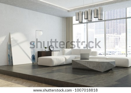 Modern living room corner with white walls, a concrete floor, a white sofa and an original coffee table. A poster and a panoramic window. 3d rendering mock up