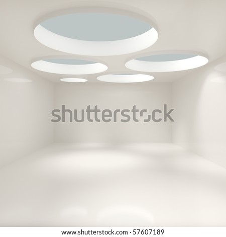 Modern Living Room - 3d illustration - stock photo