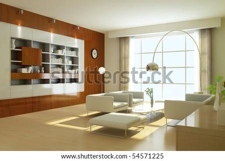 modern living room.3d render
