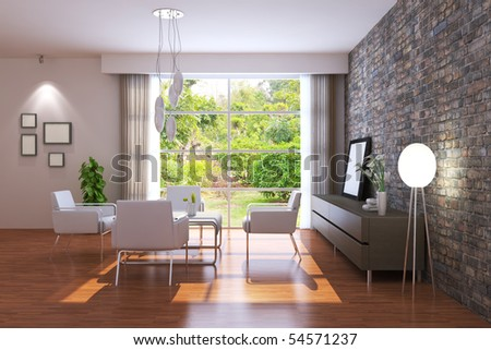 modern living room.3d render.I am the author of image which out of the window