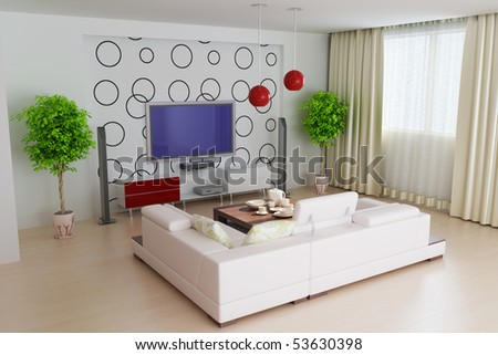 stock photo : modern living room.3d render.I am the designer of wallpaper