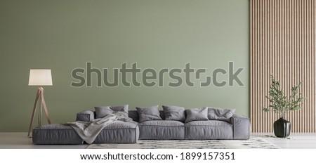 Modern living room design, gray sofa on green wall mockup, copy space, 3d render, 3d illustration Сток-фото ©