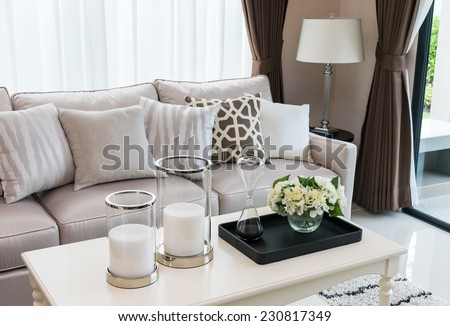 modern living room design with sofa and lamp #230817349