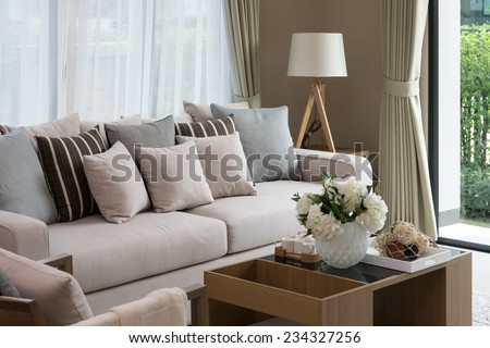 modern living room design with sofa and wooden lamp #234327256