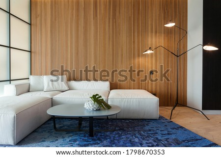 Modern living room in house with contemporary interior design, comfortable sofa, carpet on floor, lamplight lamp, decor on table and wooden panel on copy space background