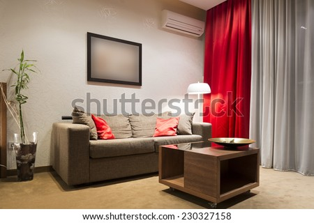 Modern living room in the evening