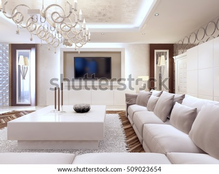 Modern living room in white colors with integrated storage for the TV. Large corner sofa and white coffee table. 3D render. #509023654