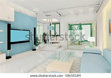 Modern Living Room Interior Design Stock Photo 58650184