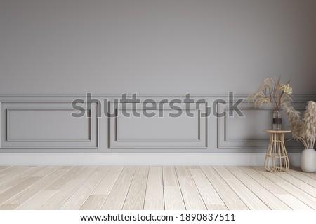 Modern living room interior design. gray wall and wood floor.empty room 3d render