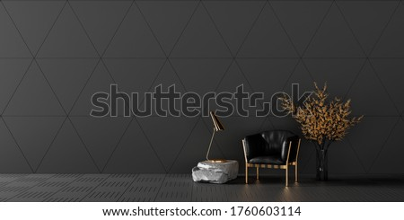 Modern living room interior design with black leather armchair and gold decoration 3d render 3d illustration