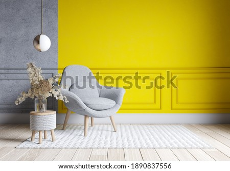 Modern living room interior design.  yellow and gray paint wall with gray chair . Color of the year 2021. 3d render