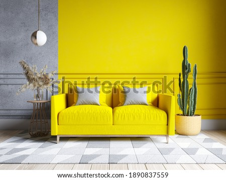Modern living room interior design.  yellow and gray paint wall with yellow sofa . Color of the year 2021. 3d render