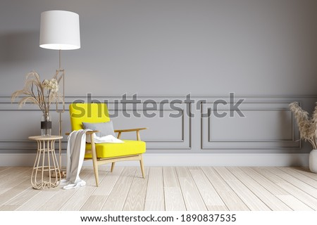 Modern living room interior design. yellow chair on gray wall. Color of the year 2021. 3d render