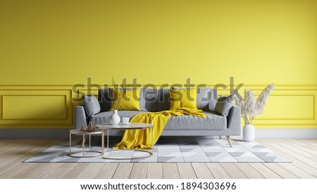 Modern living room interior design.  yellow paint wall with yellow sofa . Color of the year 2021. 3d render