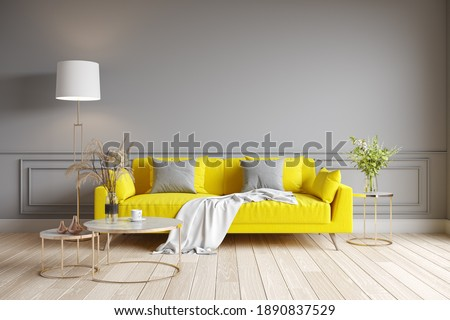 Modern living room interior design. yellow sofa on gray wall. Color of the year 2021. 3d render