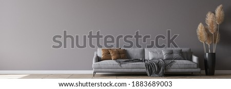 Modern living room interior, gray sofa on dark empty wall mockup, panorama, 3d render, 3d illustration Foto stock ©