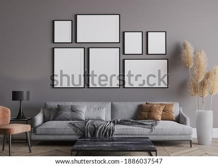 Modern living room interior, gray sofa on dark wall, gallery wall mockup, 3d render, 3d illustration Stock photo ©